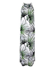 Palm Print Lace-Up Back Column Maxi