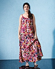 Multi Print Trapeze Maxi Dress