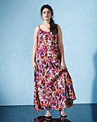 Multi Print Trapeze Maxi Dress