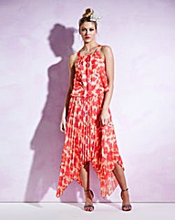 Print Sunray Pleat Dipped-Hem Dress