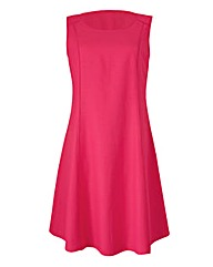 Hot Pink Plain Linen Mix Dress
