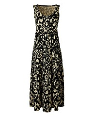 Leaf Print Tiered Jersey Maxi Dress -L50