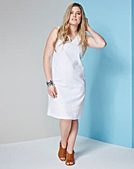 Linen-Blend Crochet Trim Dress