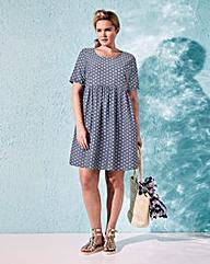 Short-Sleeve Spotted Babydoll Dress
