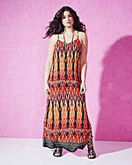 Tribal Print Lace-Up Back Column Maxi