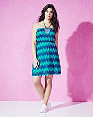 Green Multi Zigzag Bandeau Dress