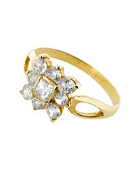 9ct Gold Cubic Zirconia Square Ring