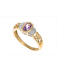 9ct Gold Amethyst Celtic Stone Set Ring