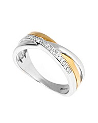 9ct Two Tone 0.10ct Diamond Ring
