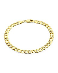 9ct Gold Flat Diamond Cut Curb Bracelet