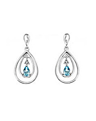 9ct Gold Diamond and Blue Topaz Earrings