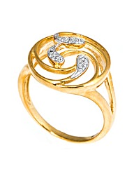 9ct Gold Diamond Swirl Design Ring