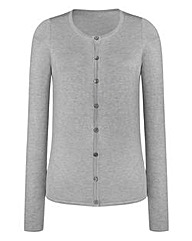 Plain Crew-Neck Cardigan