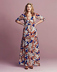 Traffic People Print Wrap Maxi Dress
