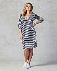 Traffic People Stripe Wrap Jersey Dress