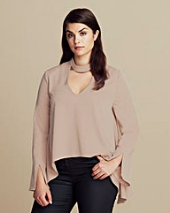 Lavish Alice Keyhole Neck Draped Blouse