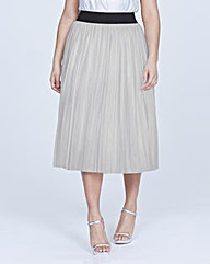 Elvi Silver Pleated Skirt