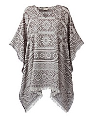 Cream Printed Kaftan Blouse