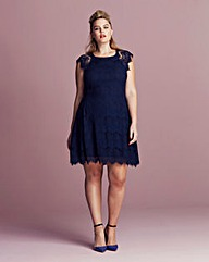 AX Paris Curve Eyelash Lace Skater Dress