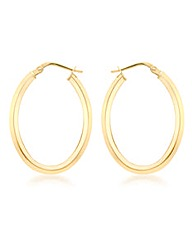 9CT Yellow Gold Oval Creole Earring