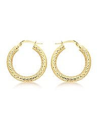 9CT Yellow Gold Mesh Creole Earring