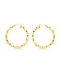 9CT Yellow Gold Twist Creole Earring