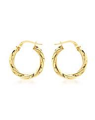 9CT Yellow Gold 15MM Twist Tube Earring