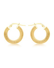 9CT Yellow Gold  Patterned Hoop Earring
