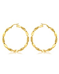 9CT Yellow Gold Twisted Hoop Earring