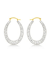 9ct Gold Crystalique Oval Hoop Earring