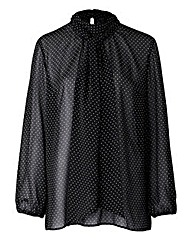 Simply Be Spot Pussybow Blouse