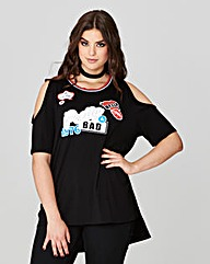Simply Be Badges Cold Shoulder Top