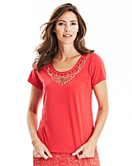 Short Sleeved Beaded Jersey Top