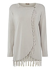 Gelco Fringed Fine-knit Cardigan