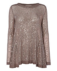 Nougat Sequinned Fine-knit Tunic