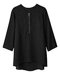 Black Ring Pull Zip Blouse