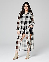 Mono Check Longline Sheer Blouse