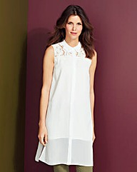 Longline Lace Insert Sleeveless Shirt