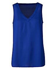 Blue V-Neck Woven Vest