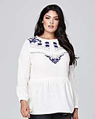 Ivory/Navy Embroidered Fringe Top