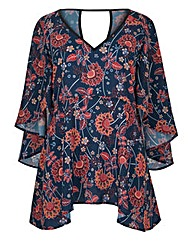 CAPE BACK FLORAL TOP