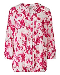Pink Floral Pleat Detail Blouse