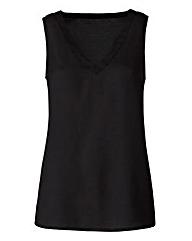 Black V-Neck Woven Vest
