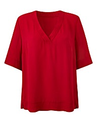 Red V-Neck Split Side Top