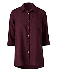 Dark Purple Linen-Mix Blouse