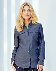 Dark Grey Linen-Mix Blouse
