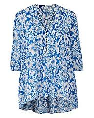 Blue Floral Embellished Dip Hem Tunic