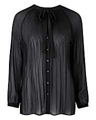 Black Pleat Pussybow Blouse