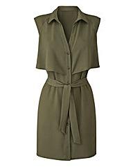 Khaki Layered Belted Tunic