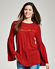 Deep Red Boho Crinkle Blouse